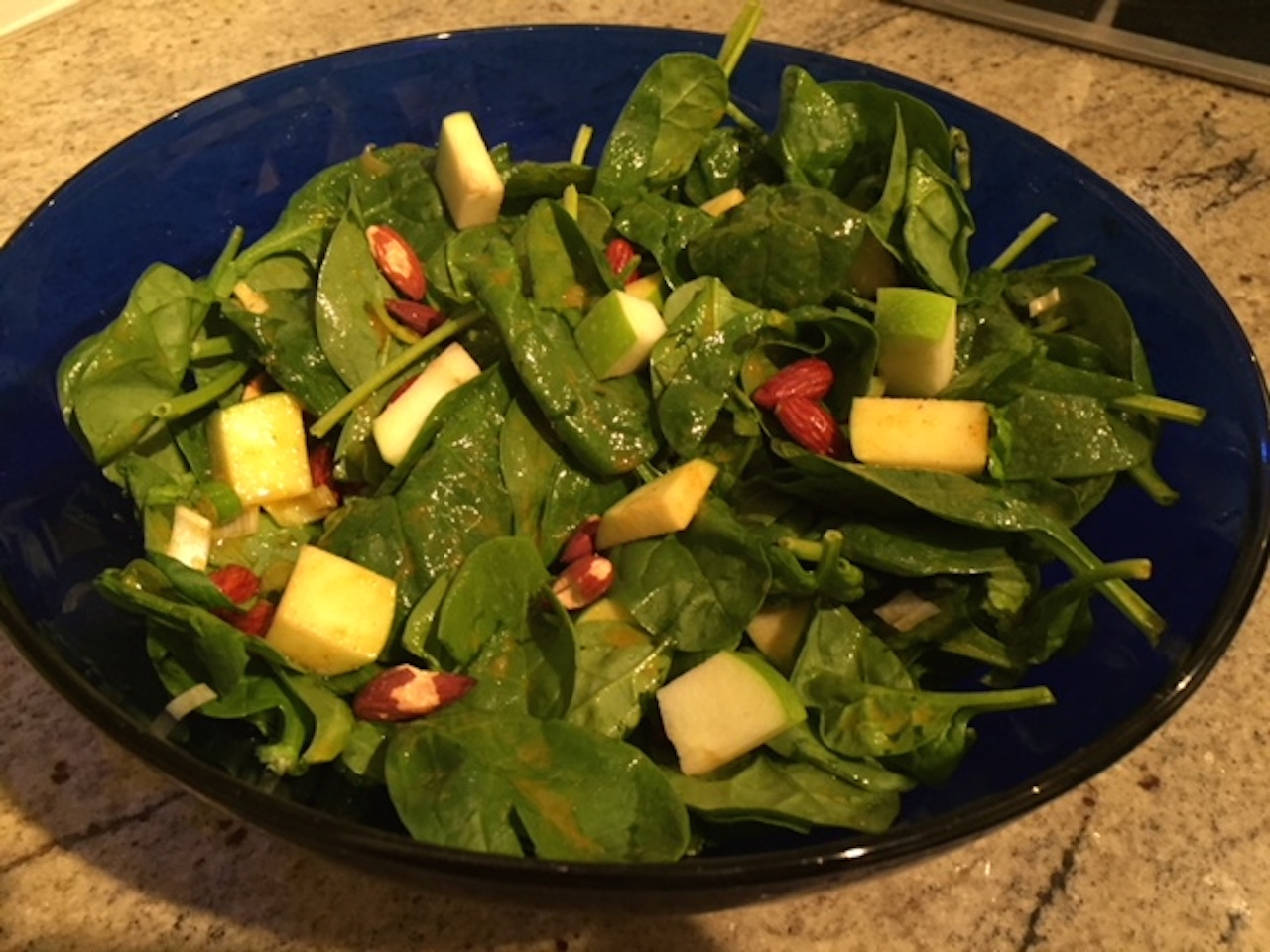Green Apple Curried Spinach Salad