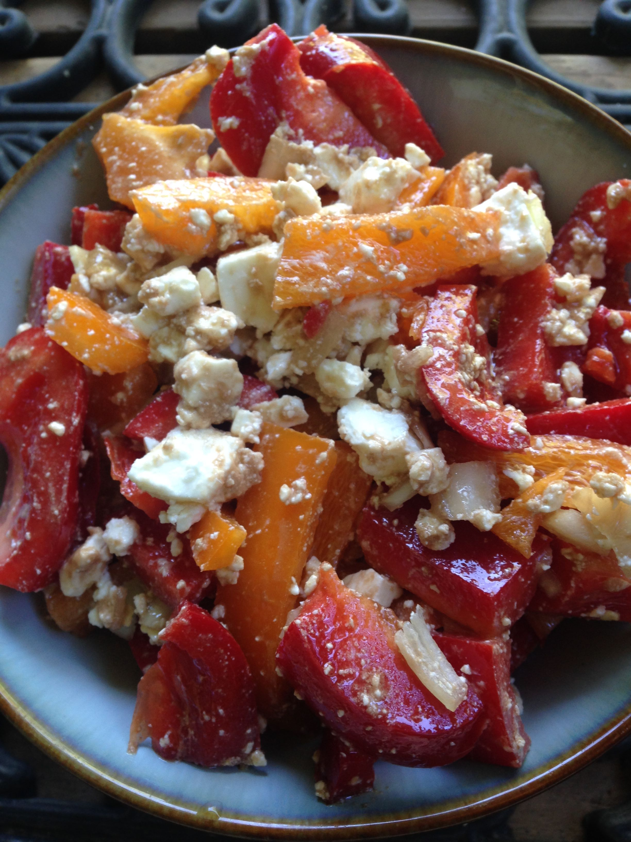 Easy Red Bell Pepper and Feta Salad Christine