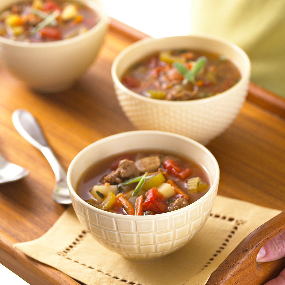 Combine extra-lean ground beef and turkey breast with vegetables and herbs in this low-calorie, low-fat, diabetic main dish soup.