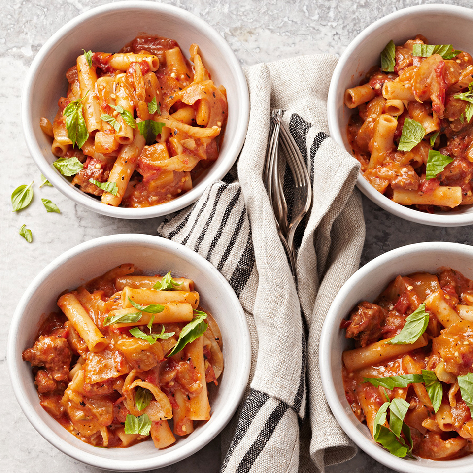 Eggplant and Sausage Slow Cooker Baked Ziti Diabetic Living Magazine