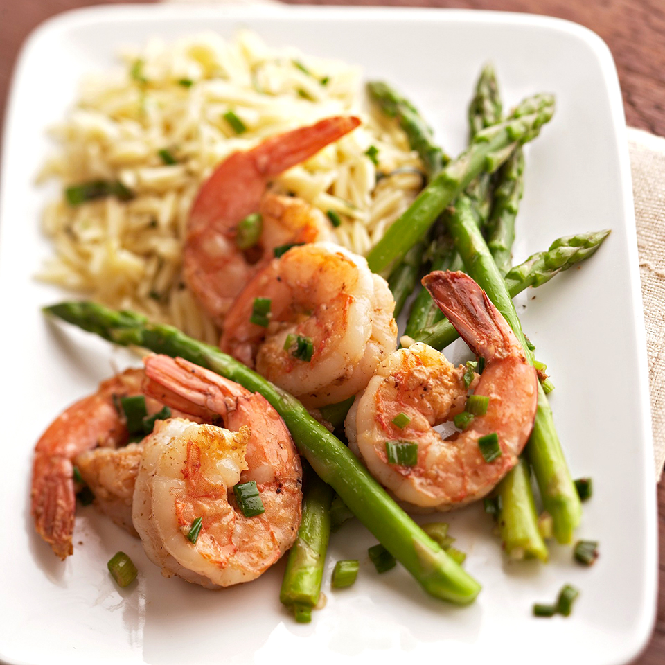 Cook asparagus in white wine to make this sophisticated shrimp dinner. Try it the next time you're entertaining. Source: Diabetic Living Magazine