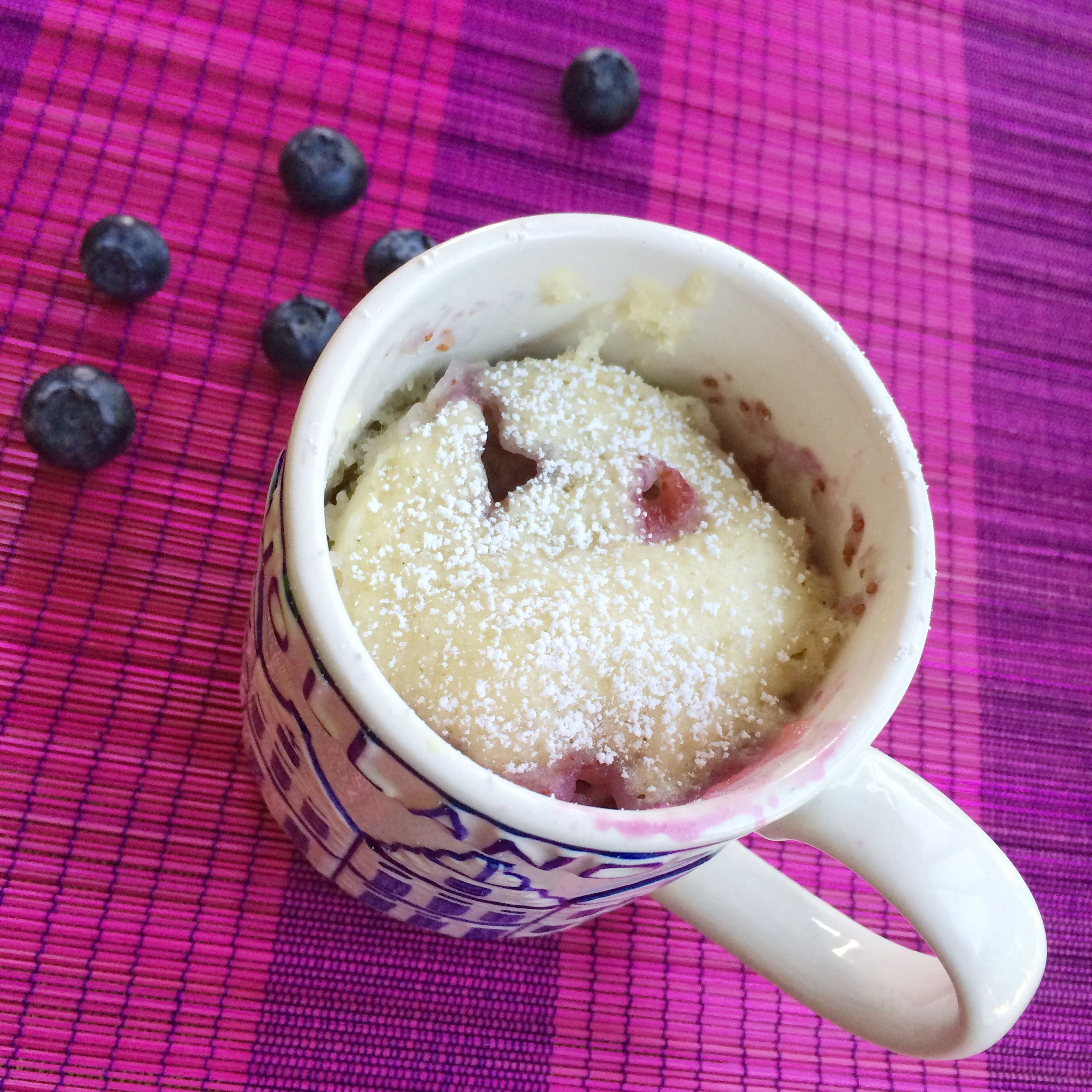 No-Egg Blueberry Mug Cake