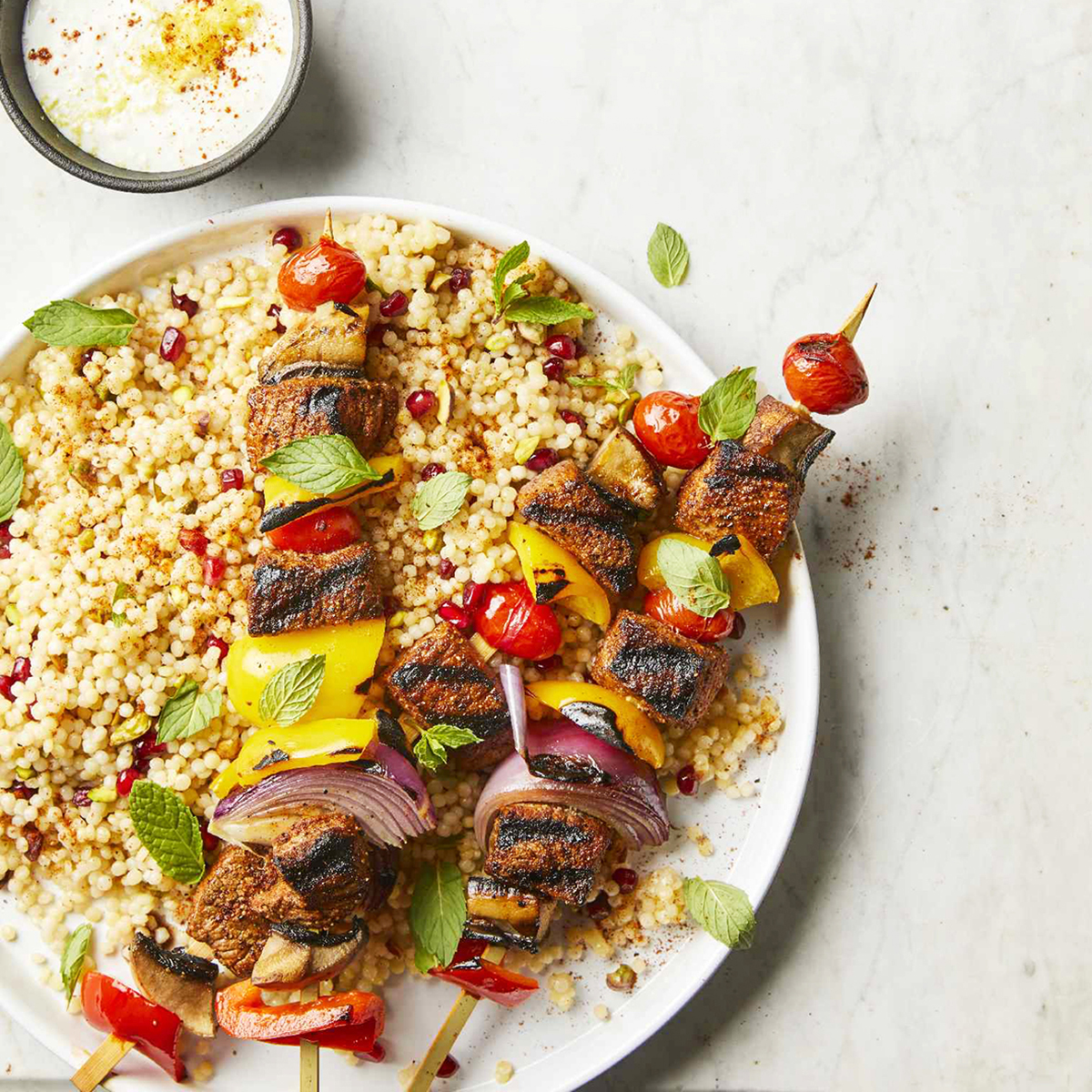 Beef Kebabs with Pomegranate Couscous