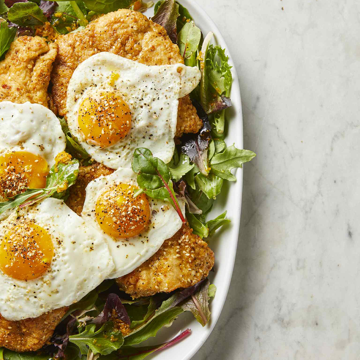 Dukkah Chicken Cutlets and Eggs