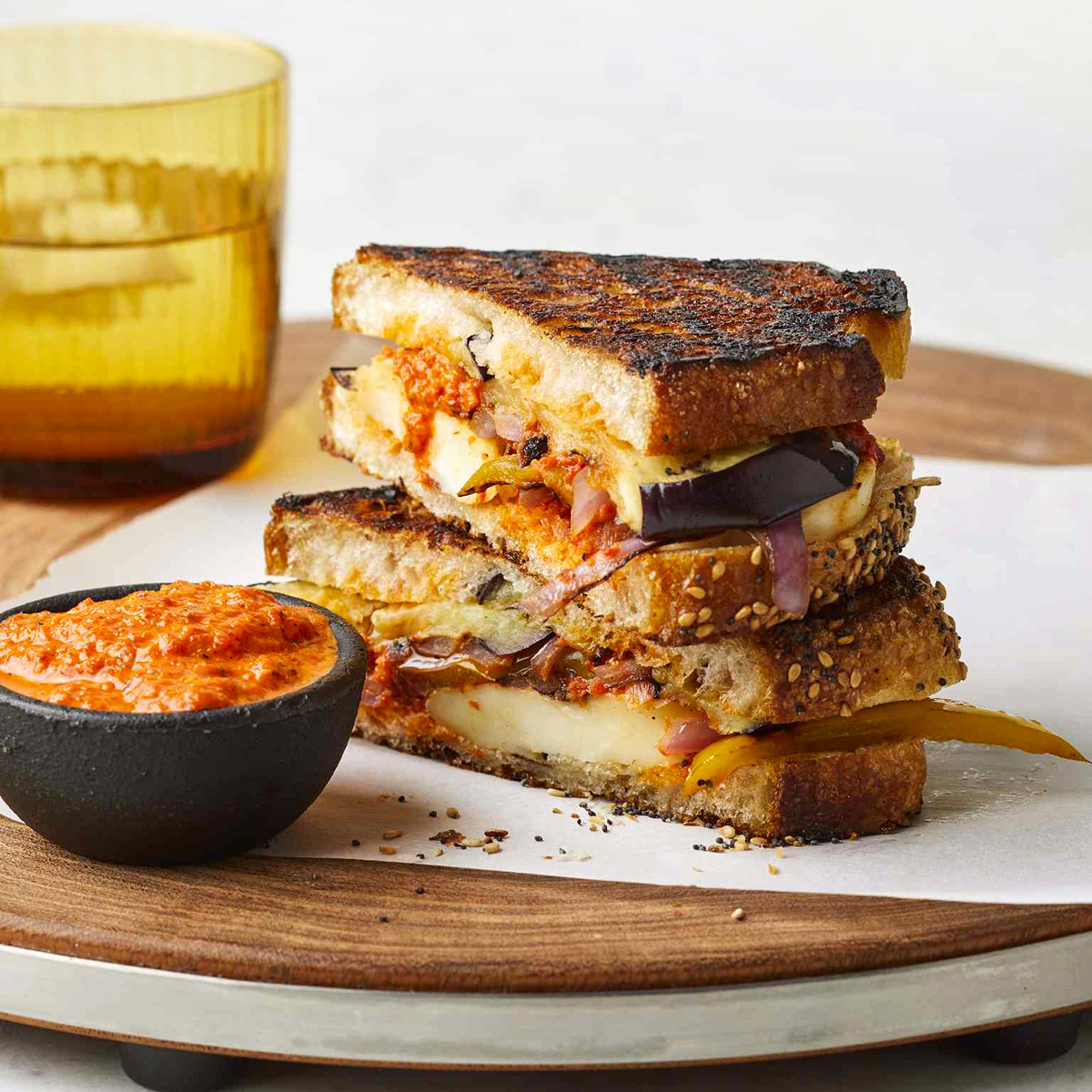 """Upgrade your grilled cheese with Halloumi -- then add the heat with North African harissa,"" says Betty Soup. ""You could also grill these on an indoor grill pan over medium heat."""