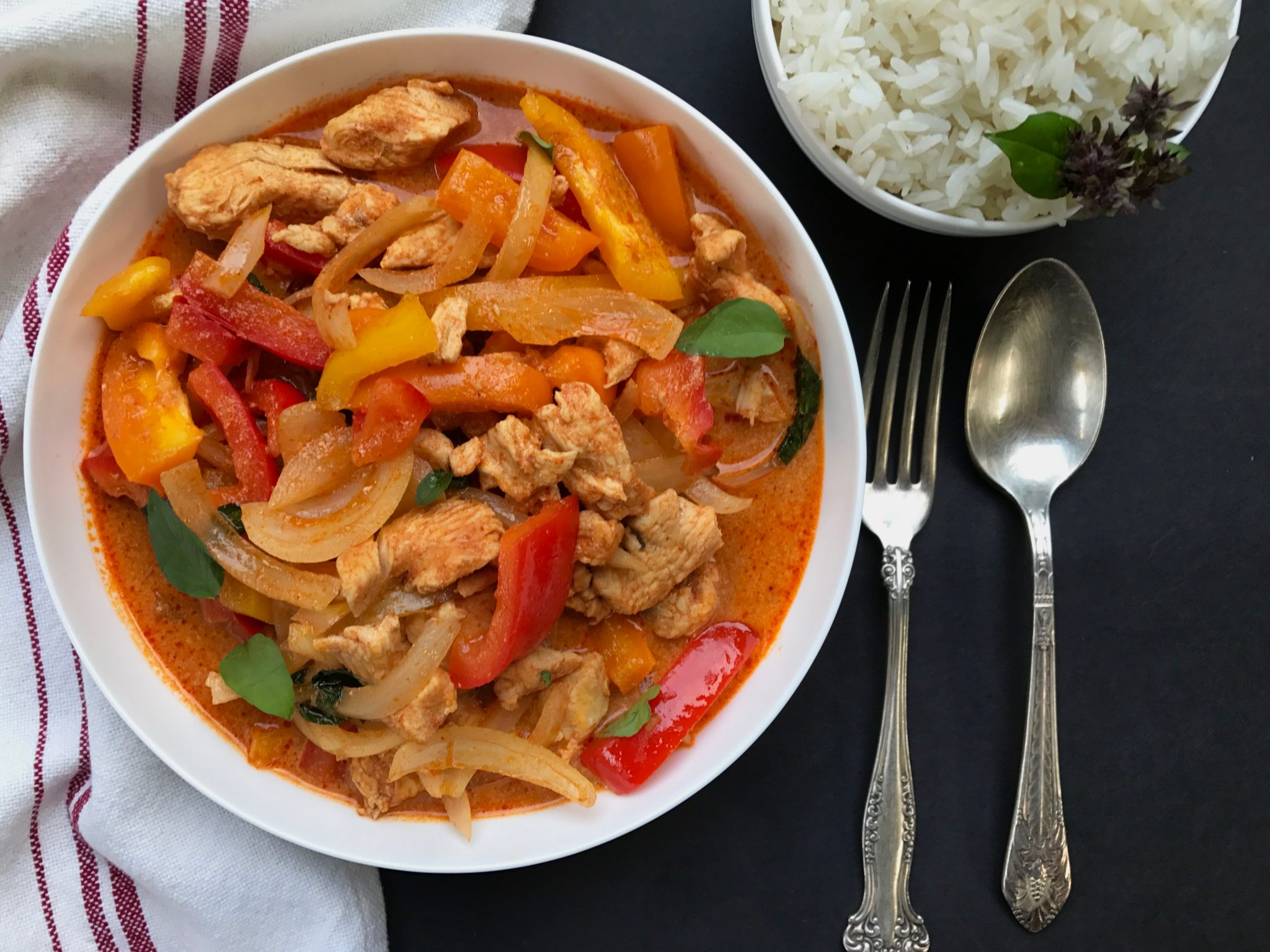 """Thai red curry chicken is a quick and delicious soup with chicken, onions, and bell peppers,"" says Jessica DiPonziano. ""Enjoy hot with jasmine rice. If you like, add Thai basil leaves."""