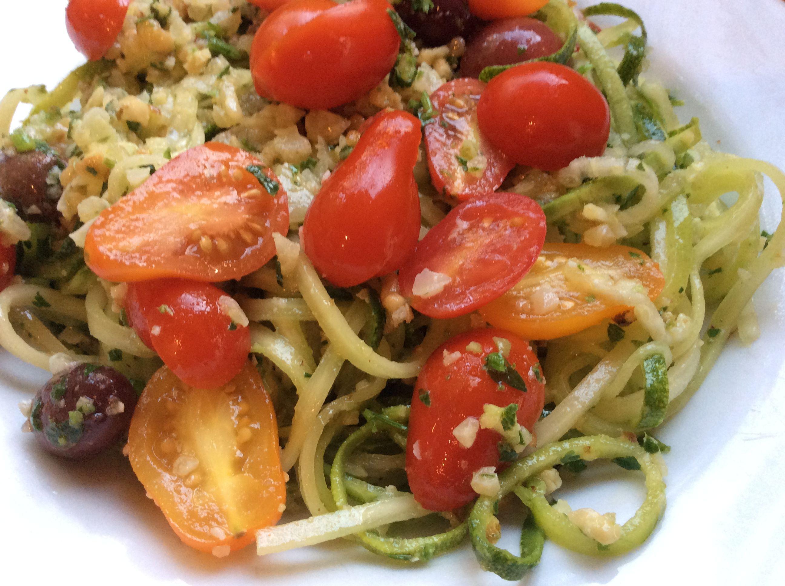 Quick Zucchini Noodles with Pesto