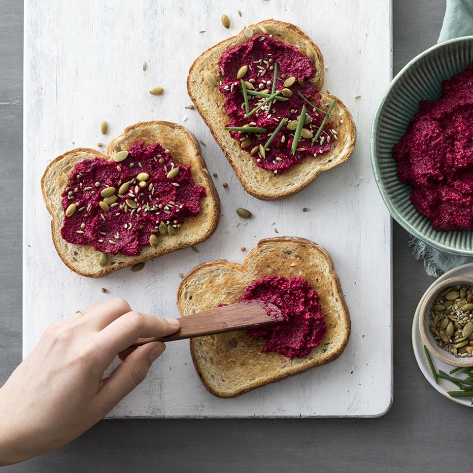 Middle Eastern Beet Hummus Toasts