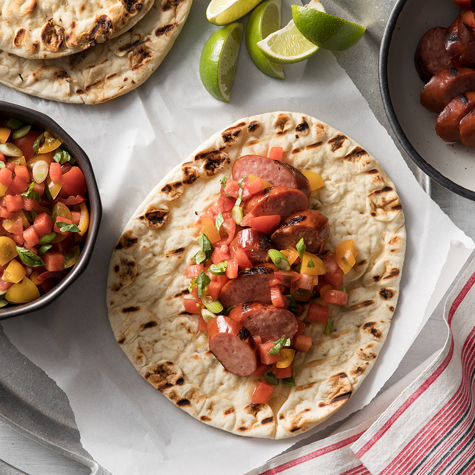 Flatbread Sandwiches with Hillshire Farm® Smoked Sausage and Watermelon Salsa