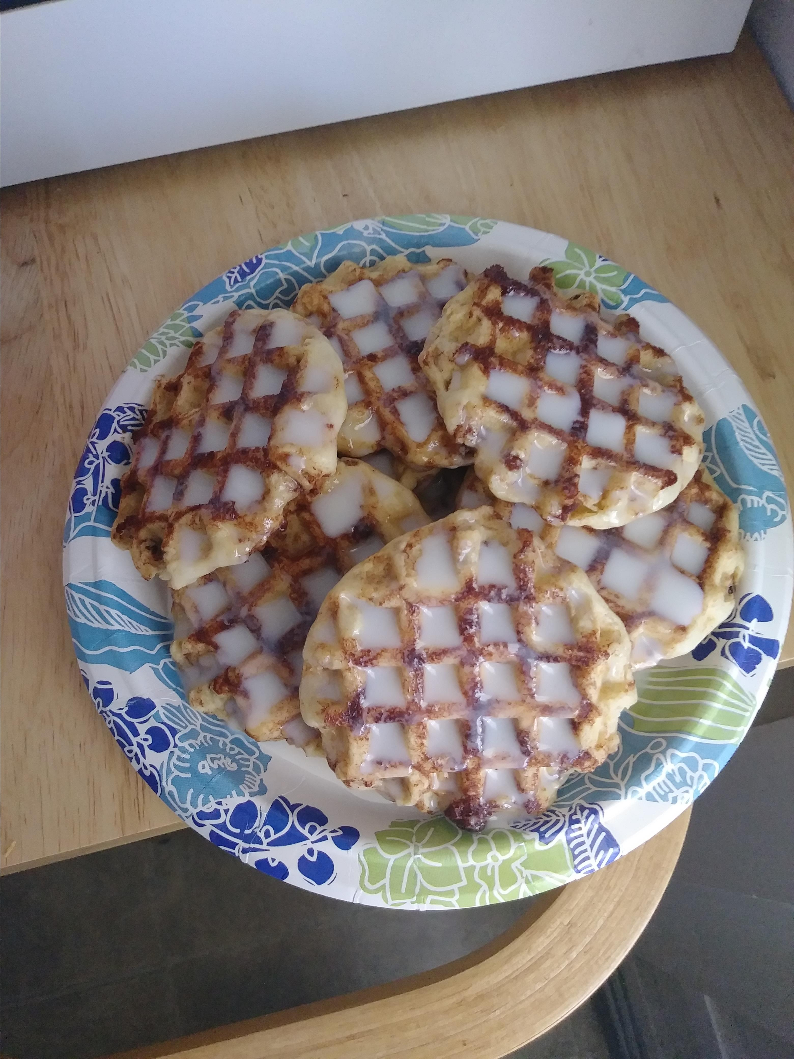 Cinnamon Roll Waffles with Cream Cheese Syrup Danielle