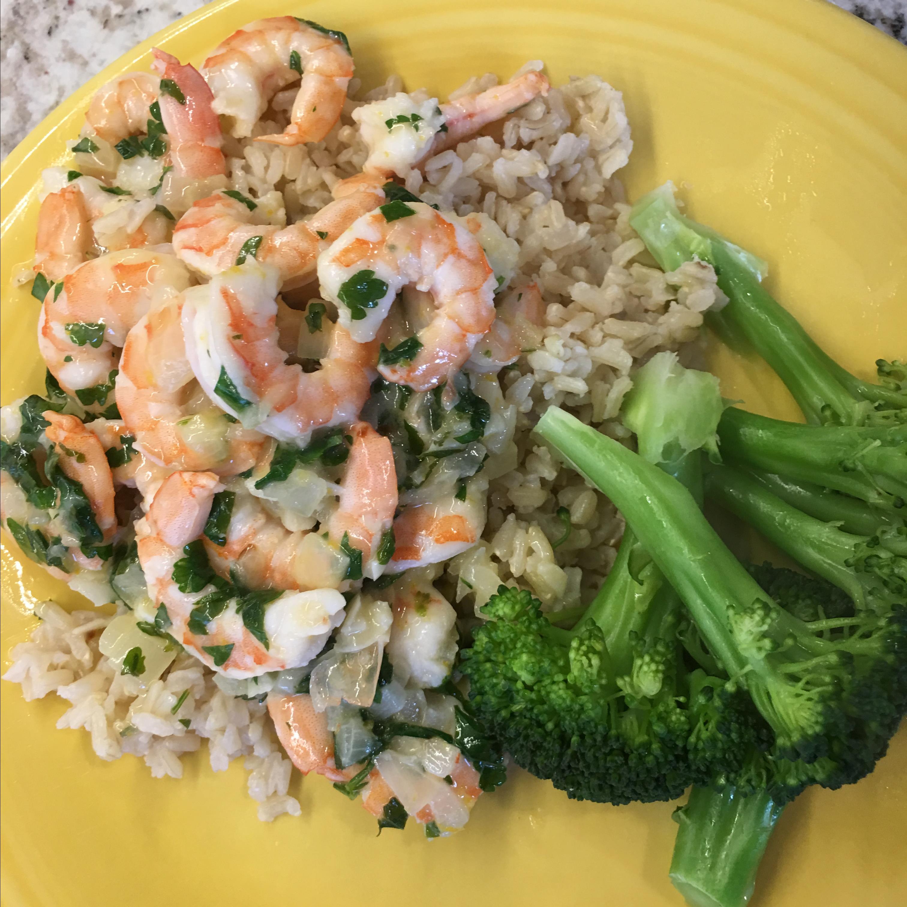 Lemony Shrimp over Brown Rice