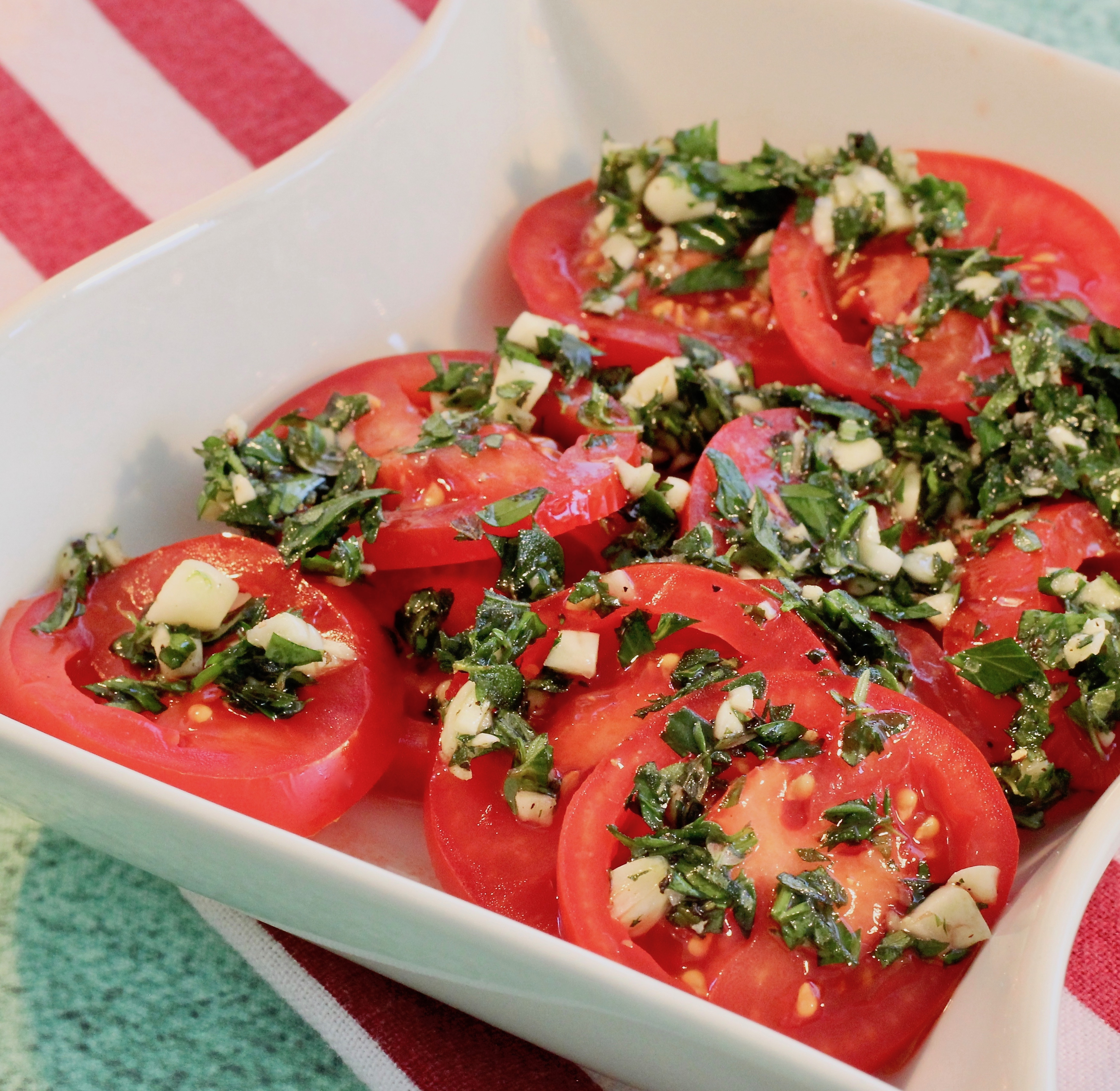 Sliced Tomatoes with Fresh Herb Dressing lutzflcat