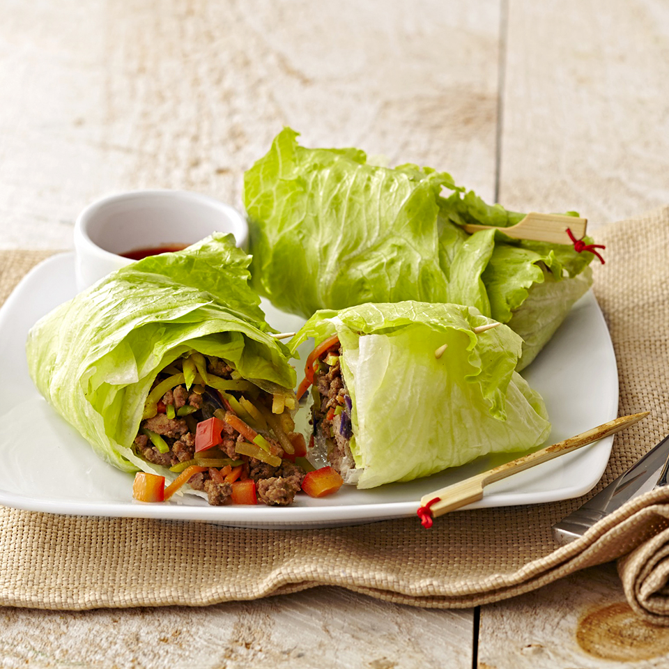 Crisp and crunchy lettuce rolls keep this delicious meal diabetic-friendly. Source: Diabetic Living Magazine