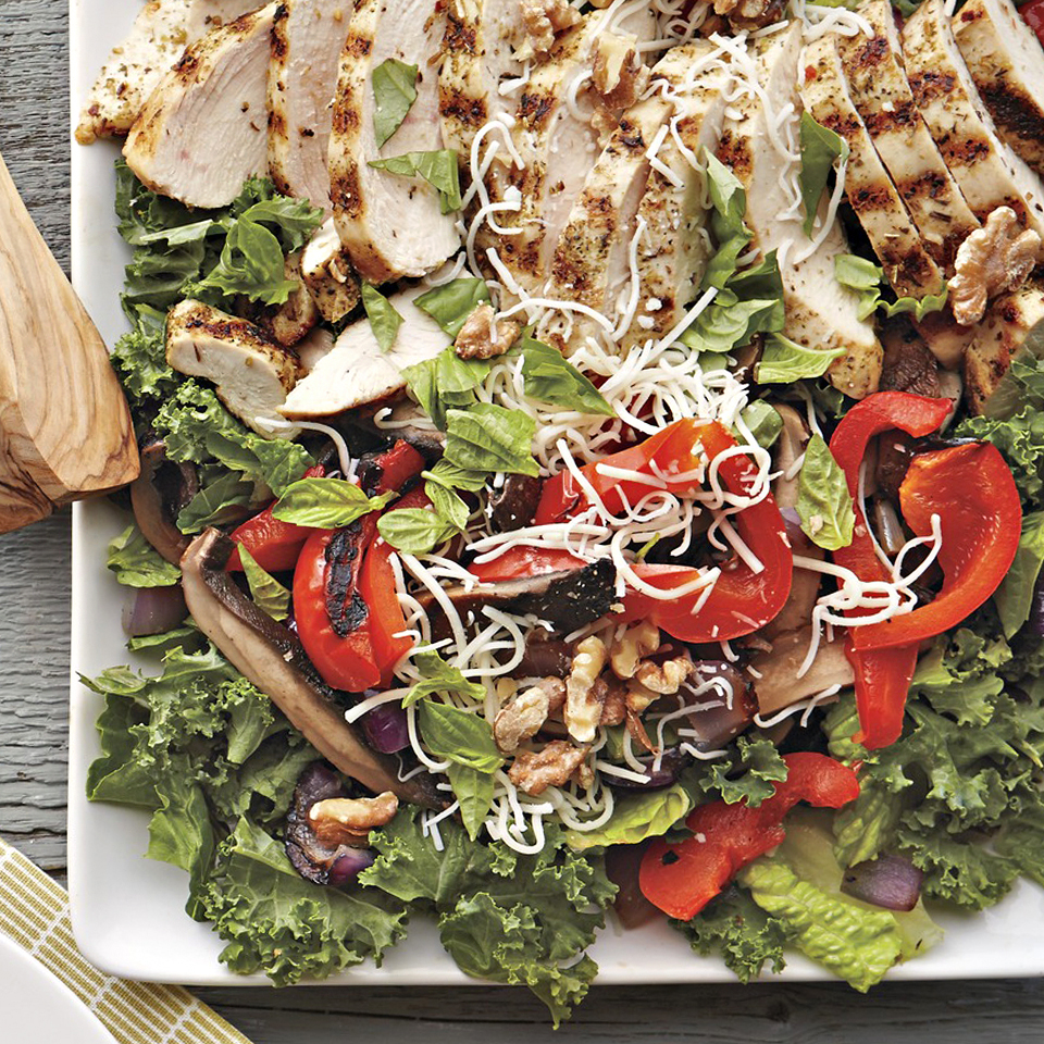 Grilled Portobello-Chicken Row Salad Diabetic Living Magazine