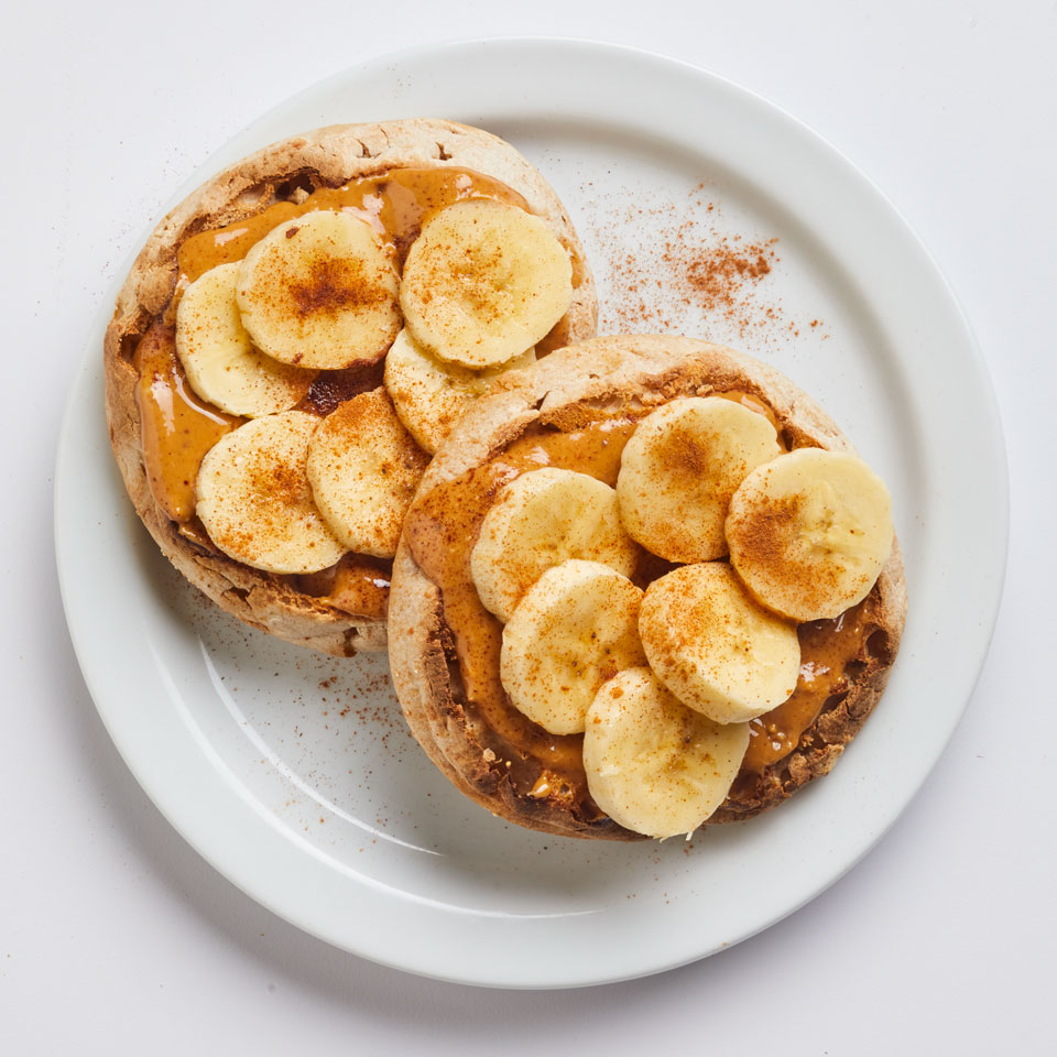 Peanut butter and banana are the original power couple. Top a simple toasted English muffin with the duo, then sprinkle everything with a hit of ground cinnamon for a healthy breakfast of champions.
