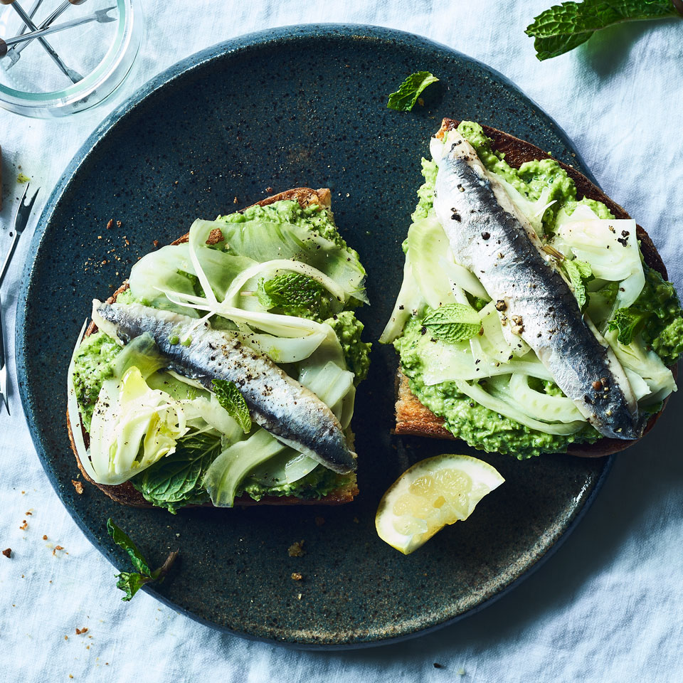 Elevate simple toast with a green, veggie-loaded spread packed with mint, fennel and sweet English peas. One of these generously topped bruschetta-like toasts makes a great appetizer; two of them are perfect as a light lunch with a salad. Canned sardines and anchovies are delicious here, as are grilled fresh sardines if you can find them. Source: EatingWell Magazine, May/June 2018