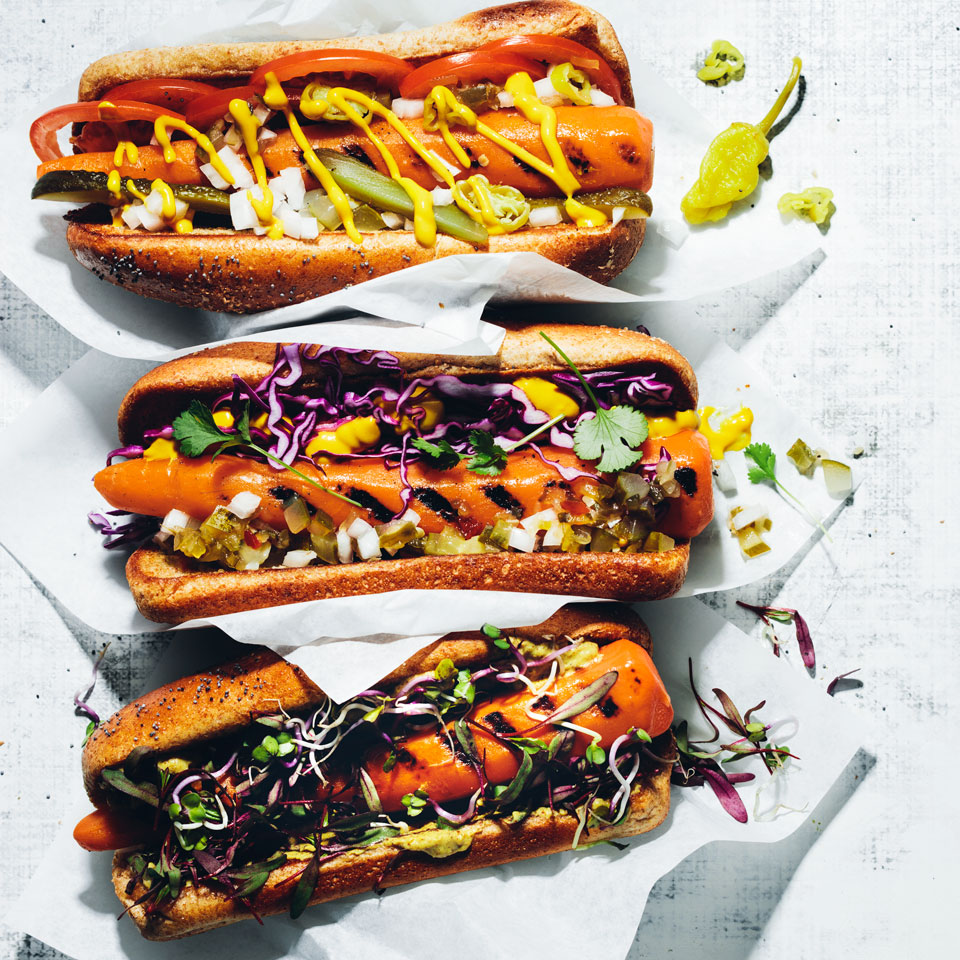 "Whether you're vegan, vegetarian or none of the above, these plant-based ""dogs"" are magically delicious--period. This recipe makes these vegan hot dogs Chicago-style, but feel free to doctor them up any way you like. Break with convention and add shredded cabbage, sprouts and cilantro, for example. Source: EatingWell Magazine, May/June 2018"