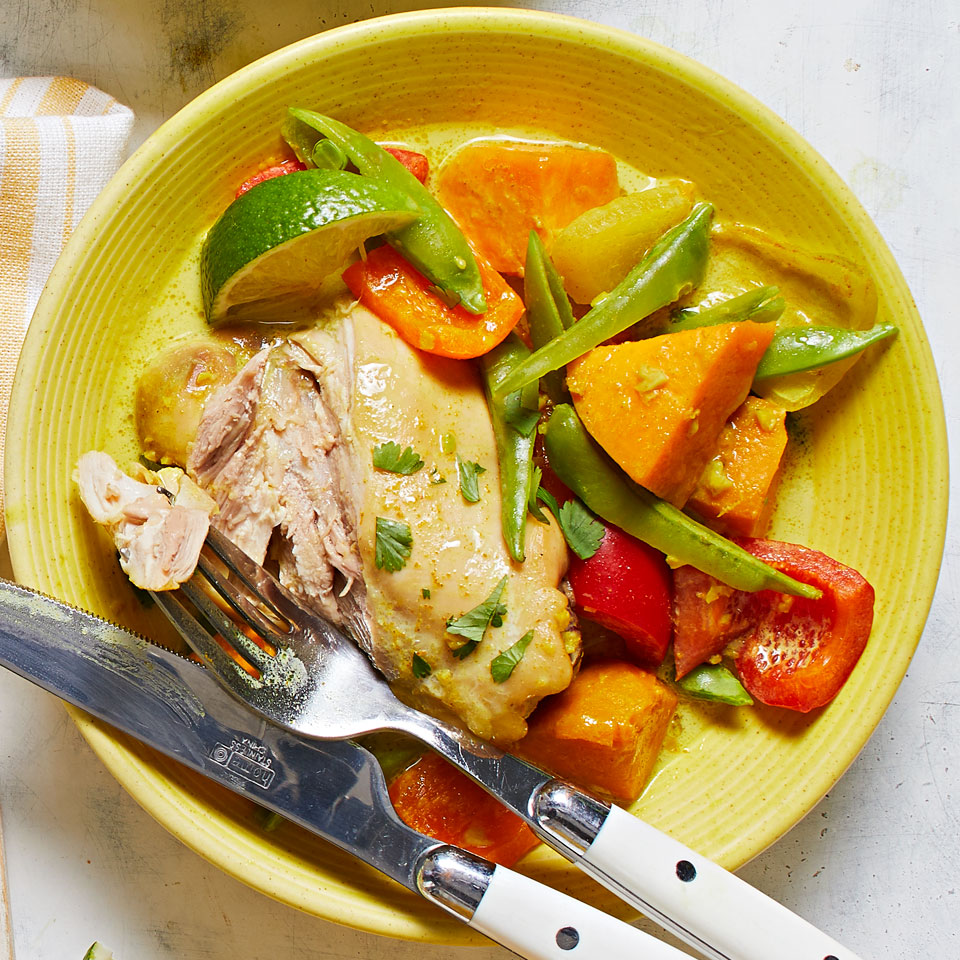 A slow cooker makes easy work of this colorful coconut curry dinner-but don't just toss everything in at once! Reserving the bell peppers and snap peas until the end keeps the vegetables crisp. Source: Diabetic Living Magazine, Summer 2018