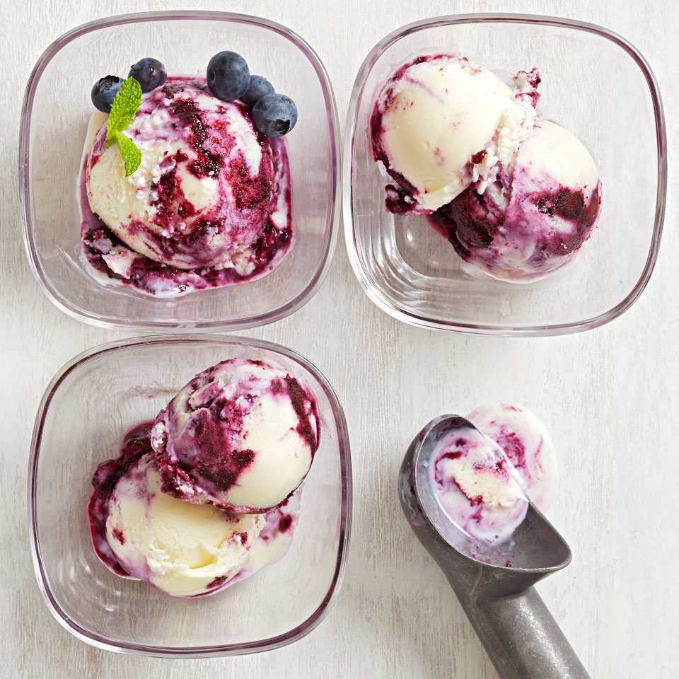This gorgeous homemade ice cream is a showstopper, thanks to bold swirls of blueberry syrup that cut through tart buttermilk-yogurt cream. Source: Diabetic Living Magazine, Summer 2018
