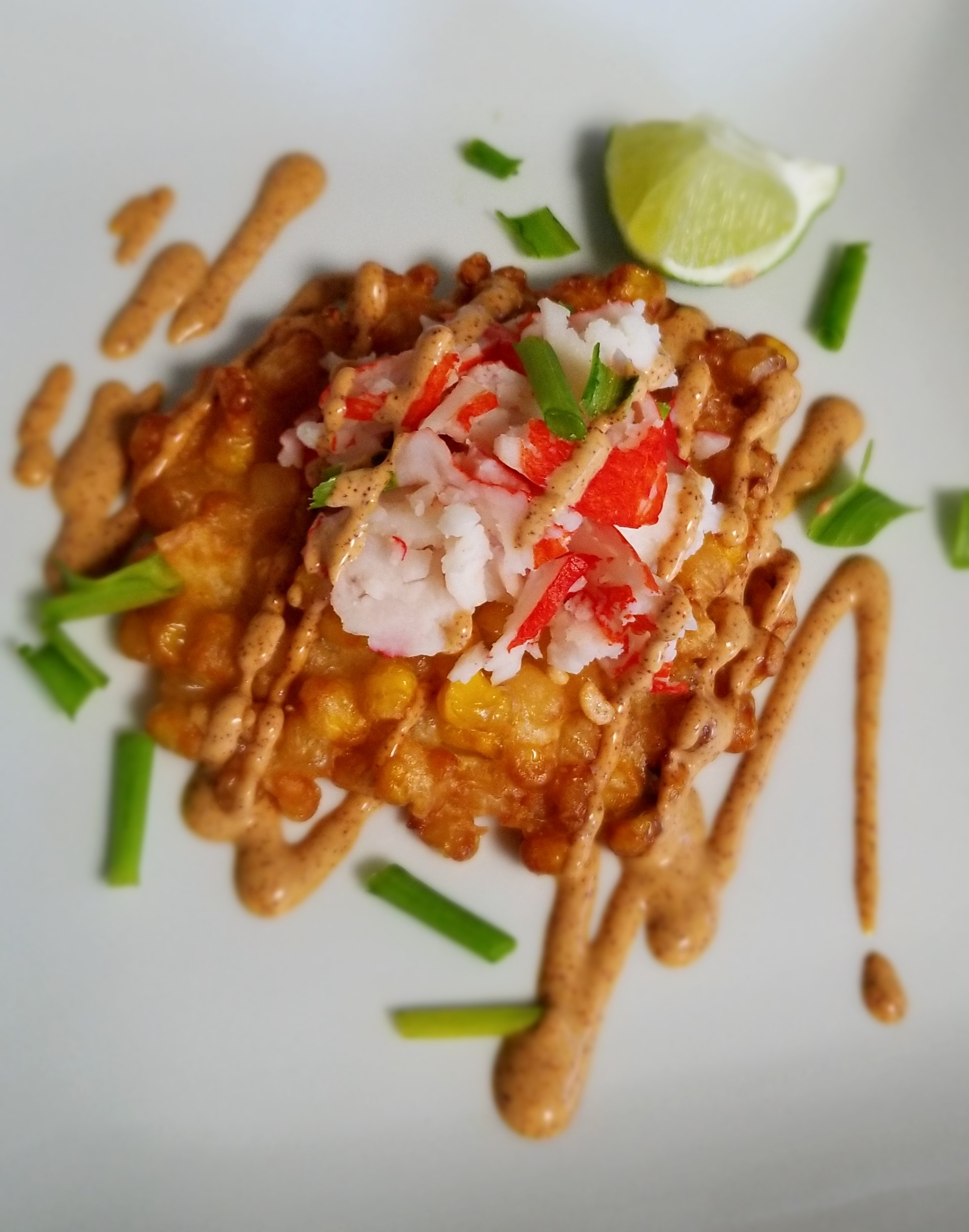 Crispy Fresh Corn Fritters with Crab and Chipotle Lime Dressing Sahara B