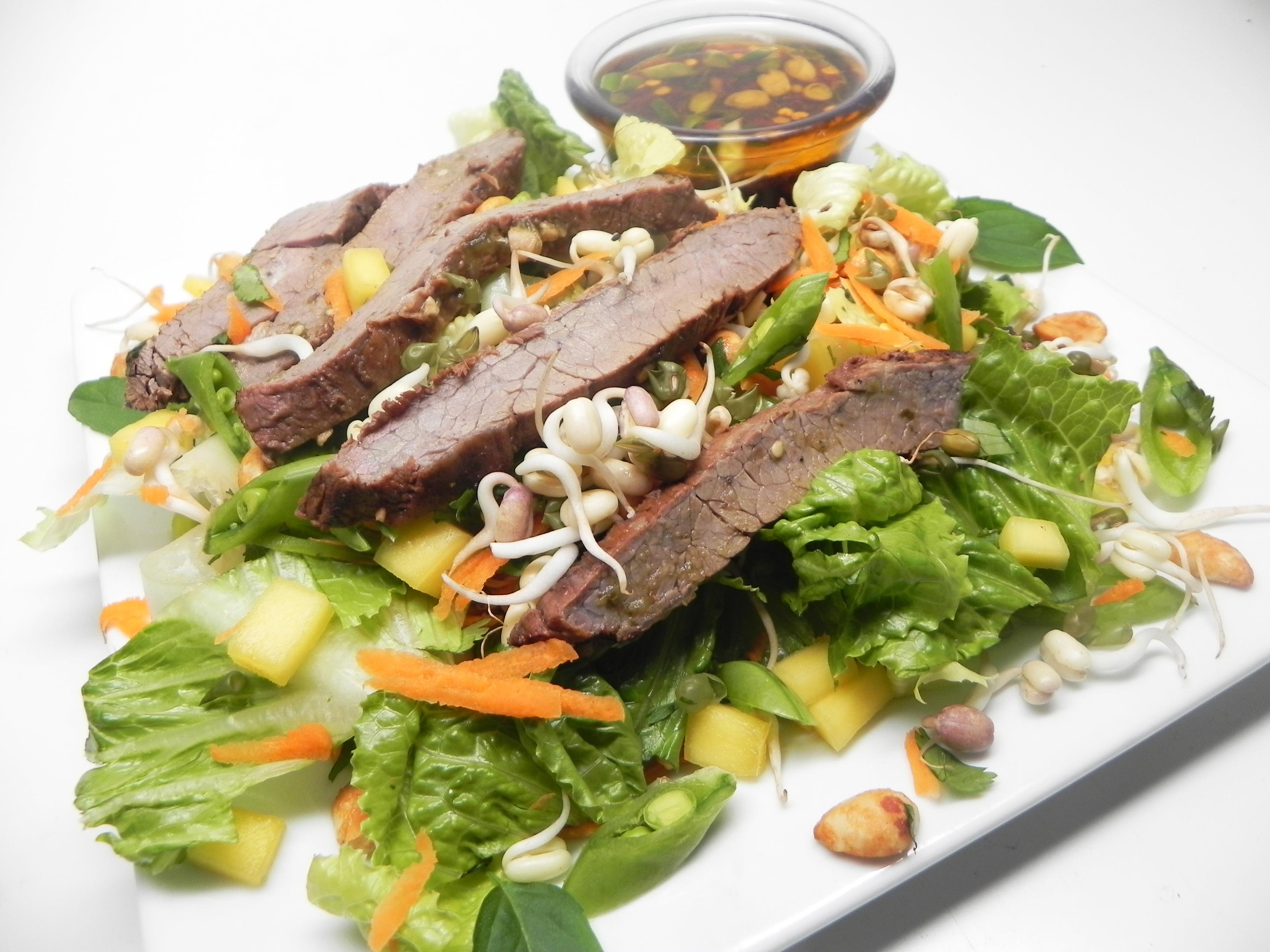 Flank Steak on Thai Mango Salad