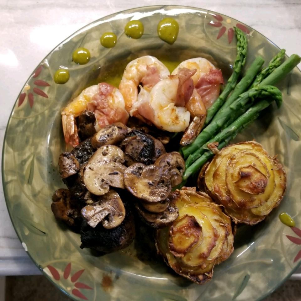 Pancetta Wrapped Shrimp with Chipotle Vinaigrette and Cilantro Oil Montrose
