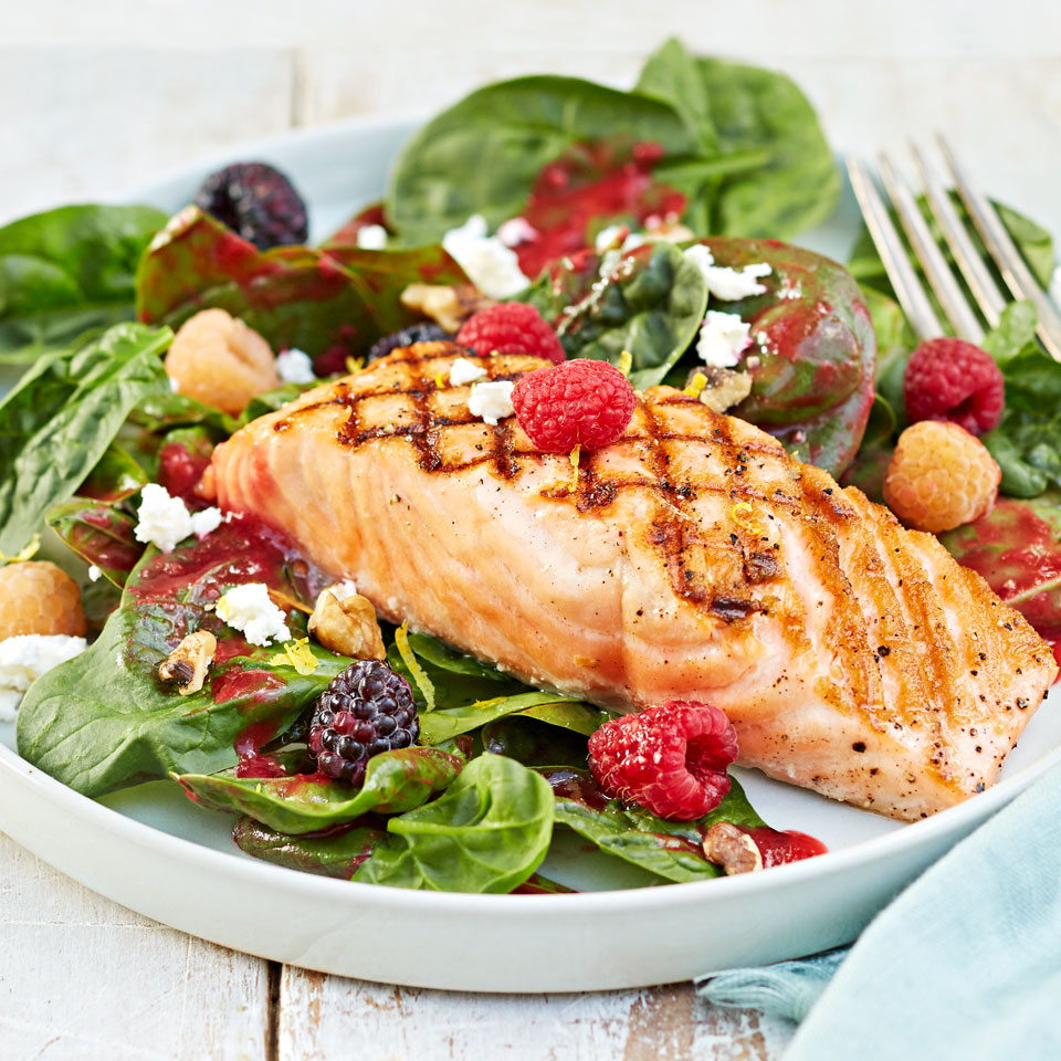 Grilled Salmon Salad with Raspberry Vinaigrette Trusted Brands