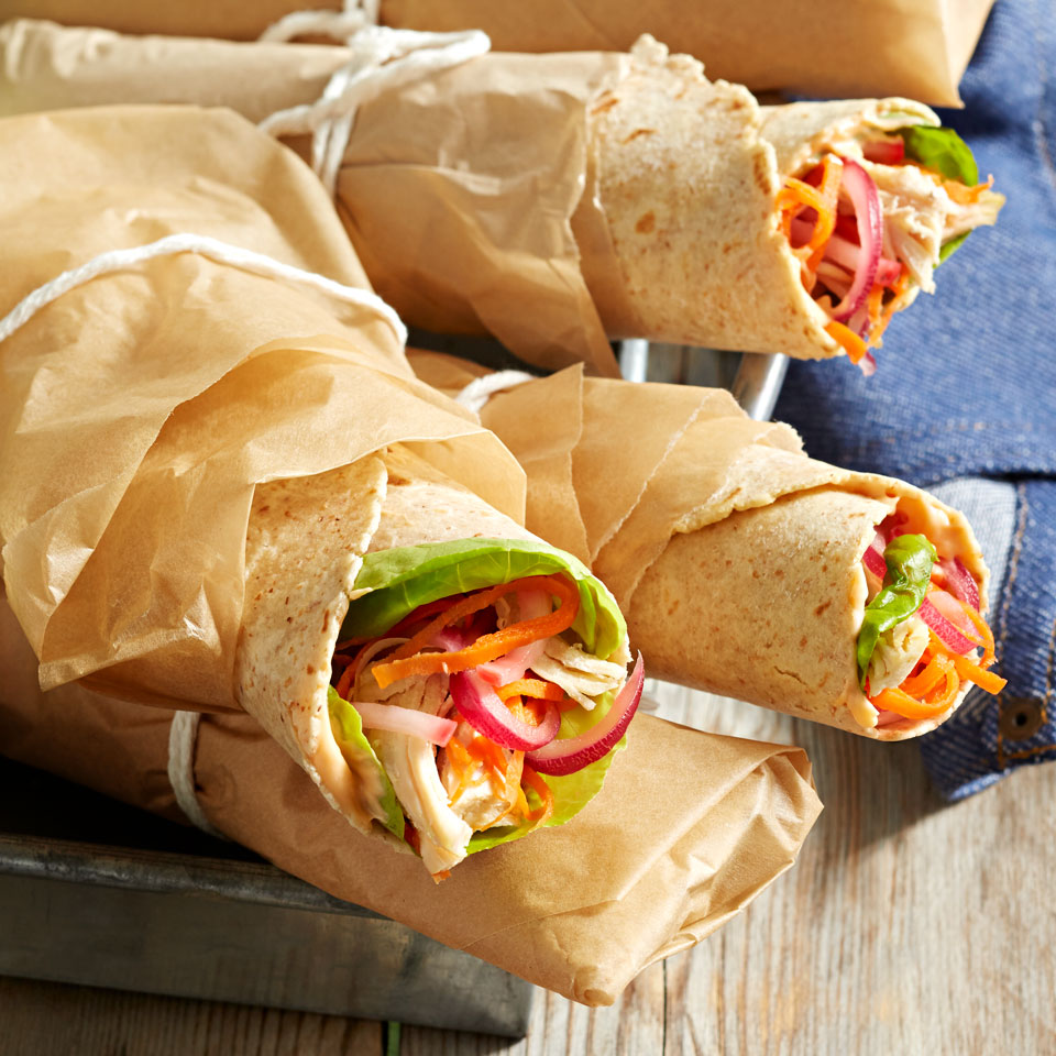 These colorful chicken wraps are perfect for a crowd. Marinated radishes, onions, and carrots add a salty crunch-and a sneaky serving of vegetables! Source: Diabetic Living Magazine, Summer 2018