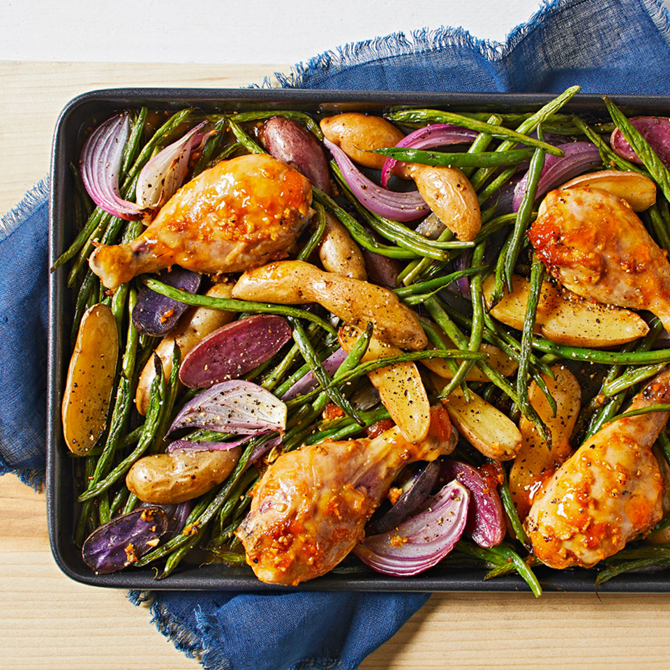 In this easy sheet-pan dinner, a sweet-and-savory glaze and a colorful medley of vegetables transform ordinary drumsticks into a satisfying meal. Source: Diabetic Living Magazine, Summer 2018