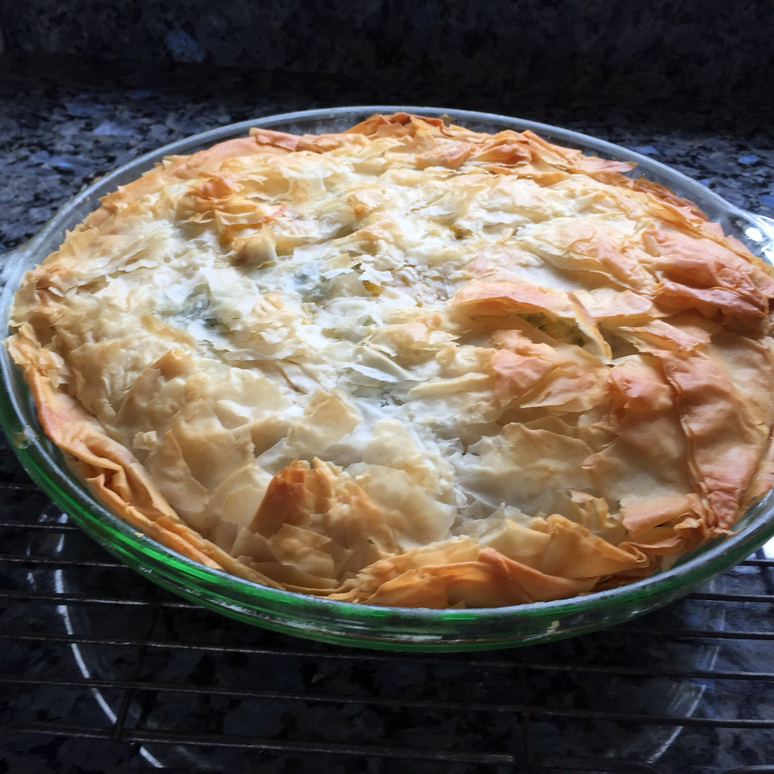 """This is a versatile pie; add garlic, fennel, chard, and/or herbed feta for tasty variations,"" says Diane."