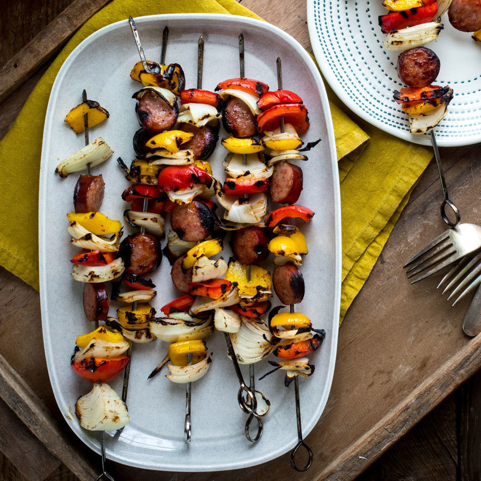 The classic flavors of jambalaya come together in these easy-peasy smoked sausage kebabs. Celery is one of the classic flavors in traditional jambalaya, so we included a pinch of celery seed in the marinade.Source: EatingWell.com, April 2018