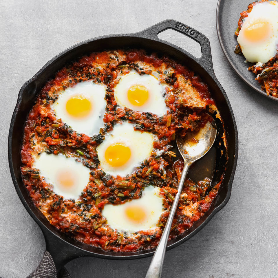 You can make these three-ingredient tomato-simmered eggs with things you probably already have on hand in your freezer and pantry. To make these baked eggs more like eggs in purgatory, look for a spicy tomato sauce and don't forget some whole-wheat bread for dipping. Source: EatingWell.com, April 2018