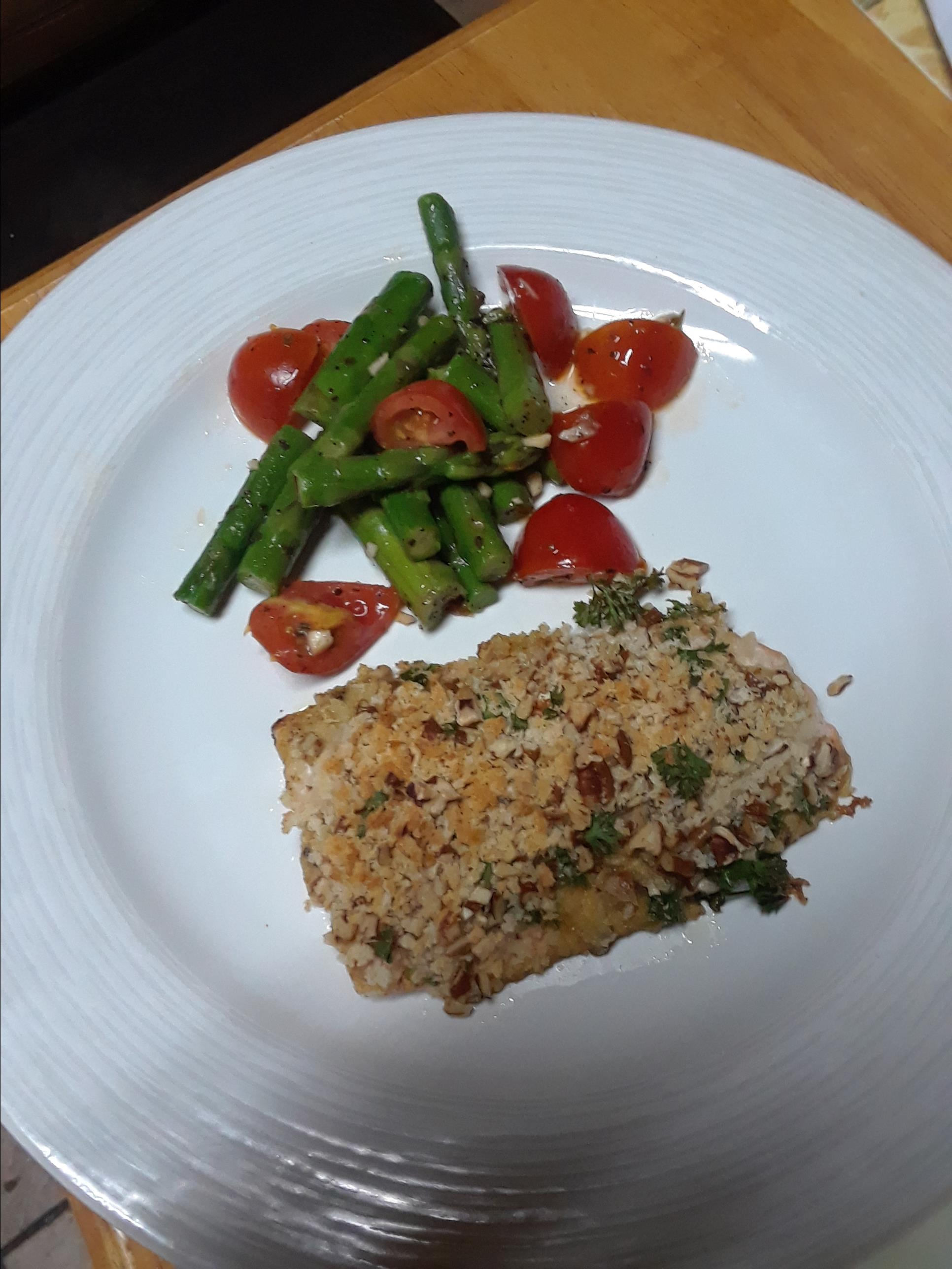 Alaska Salmon Bake with Pecan Crunch Coating Olga Leticia Rubio