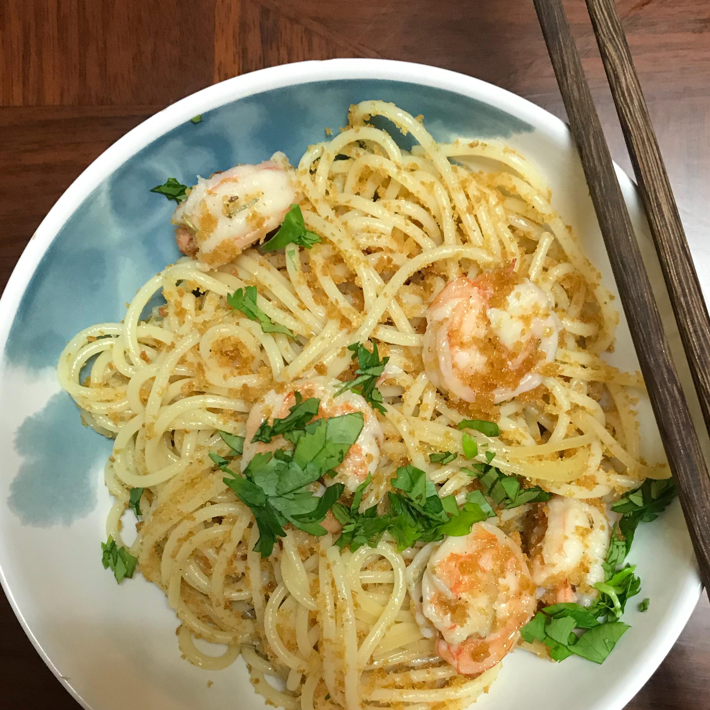 Shrimp Spaghetti with Crumbs jonanjing