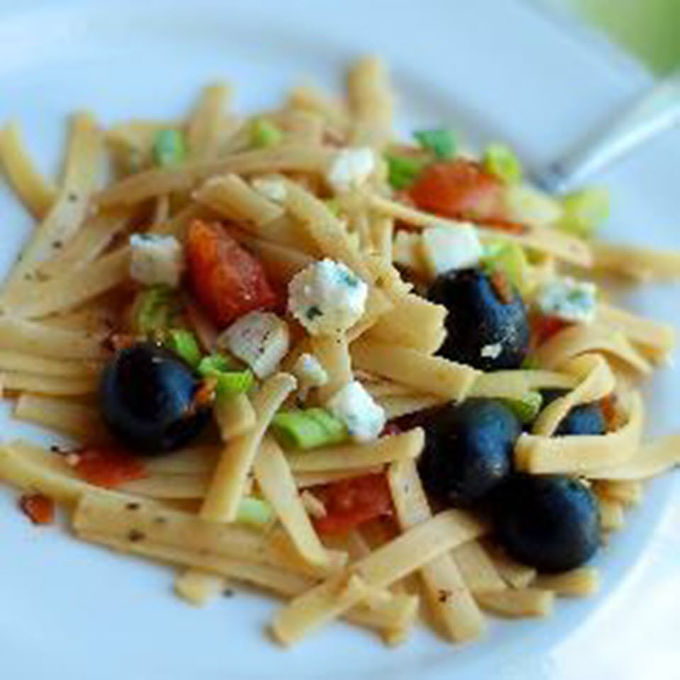 Fettuccine with Tomatoes, Olives, and Goat Cheese