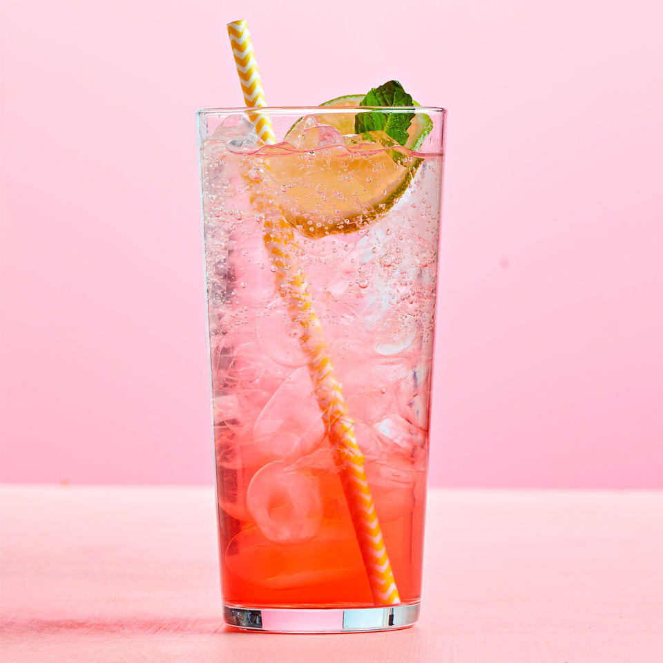 Raspberries, lime, and ginger sparkle in a homemade soft drink that's the taste of summer in a glass. This homemade soda has three parts: fruit concentrate, simple syrup, and seltzer water. Store all three components in the fridge separately, then mix just before serving. Source: Diabetic Living Magazine, Summer 2018