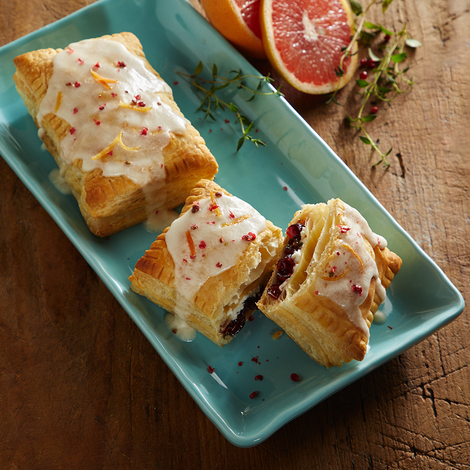 Cranberry Grapefruit Cheese Tarts with Zesty Thyme and Pink Peppercorn Sprinkles