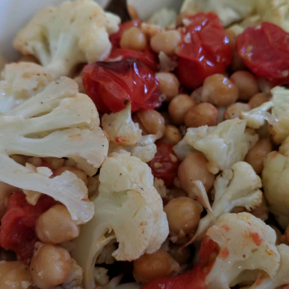 Easy Vegan Sheet Pan Roasted Cauliflower, Tomatoes, and Garbanzo Beans Mary Zink