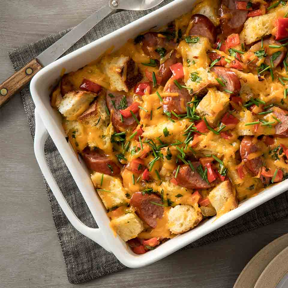 Hillshire Farm® Smoked Sausage and Cheddar Overnight Bread Pudding