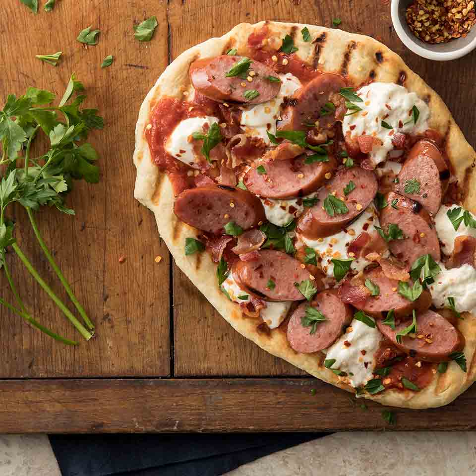 Grilled Burrata Pizza with Hillshire Farm® Smoked Sausage