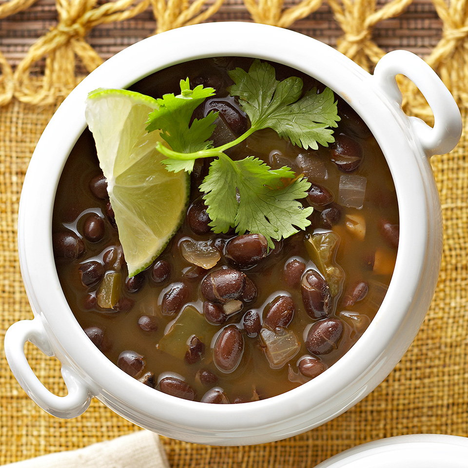 Packed with protein and fiber, this soup doesn't need meat to be satisfying. Soaking and cooking the beans yourself, rather than opening a can, ensures you'll have wonderful flavor and texture. (And the slow cooker does most of the work!) Source: Diabetic Living Magazine