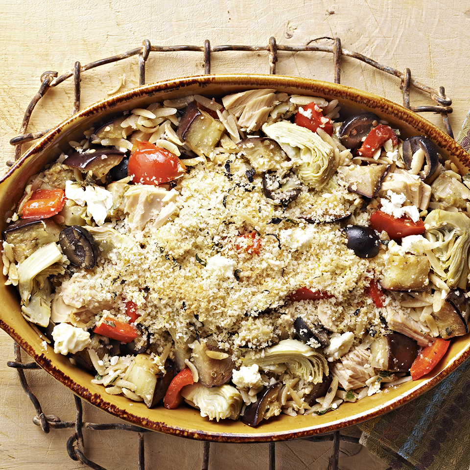 Tuna casserole is a timeless comfort-food recipe; this one incorporates eggplant, artichoke hearts, oregano, olives and feta cheese for a Greek flair. Source: Diabetic Living Magazine