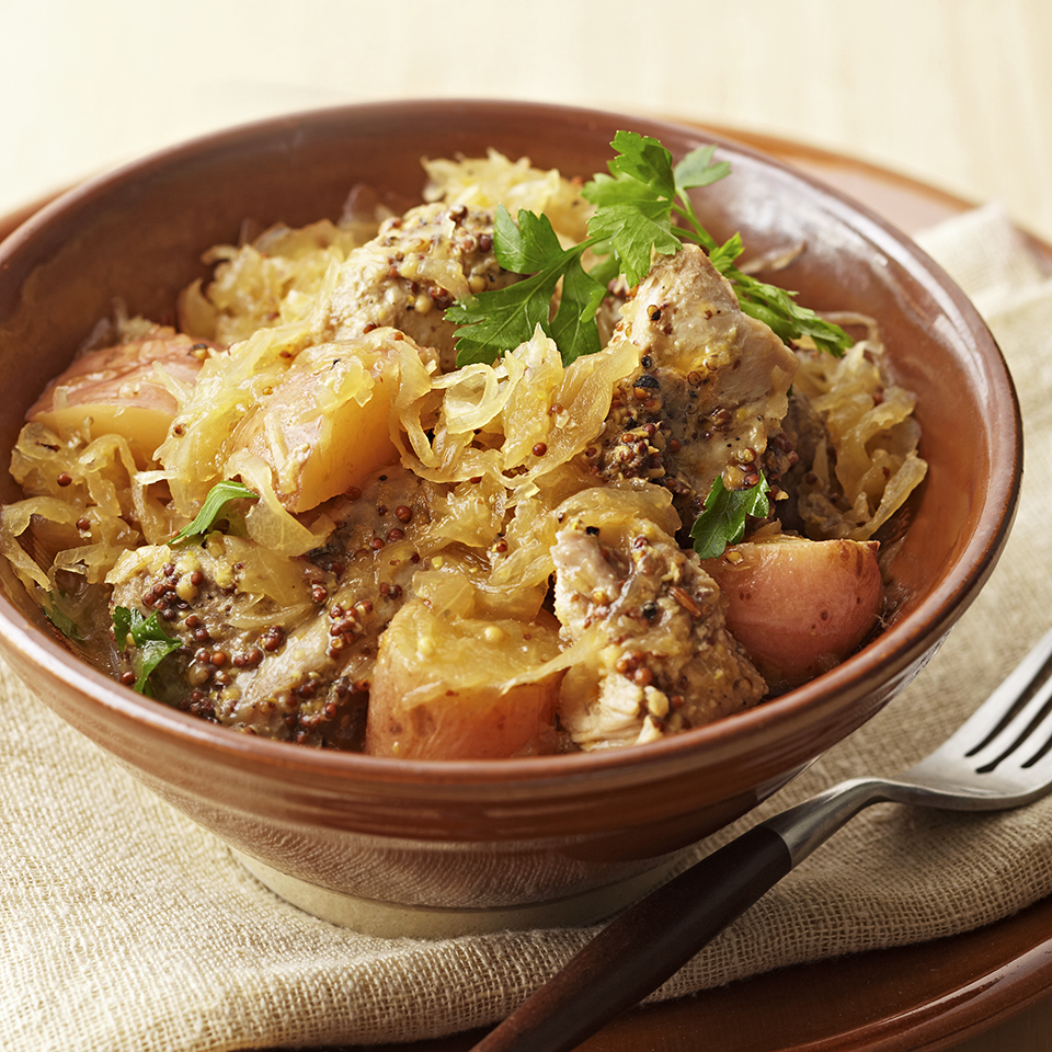 Sauerkraut is at the heart of this simple German-style slow-cooker pork stew. Source: Diabetic Living Magazine