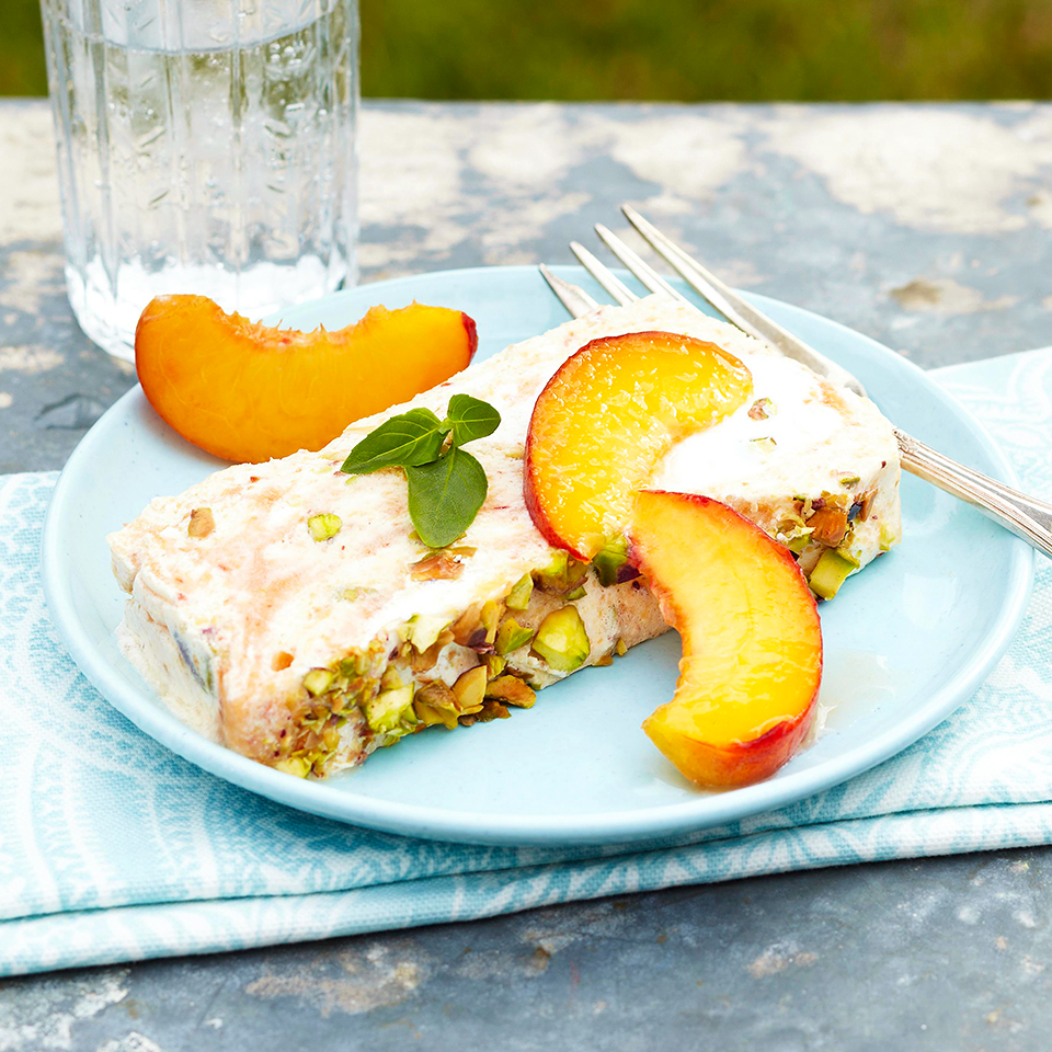 Peach Semifreddo with Pistachios and Peach Swirl Trusted Brands