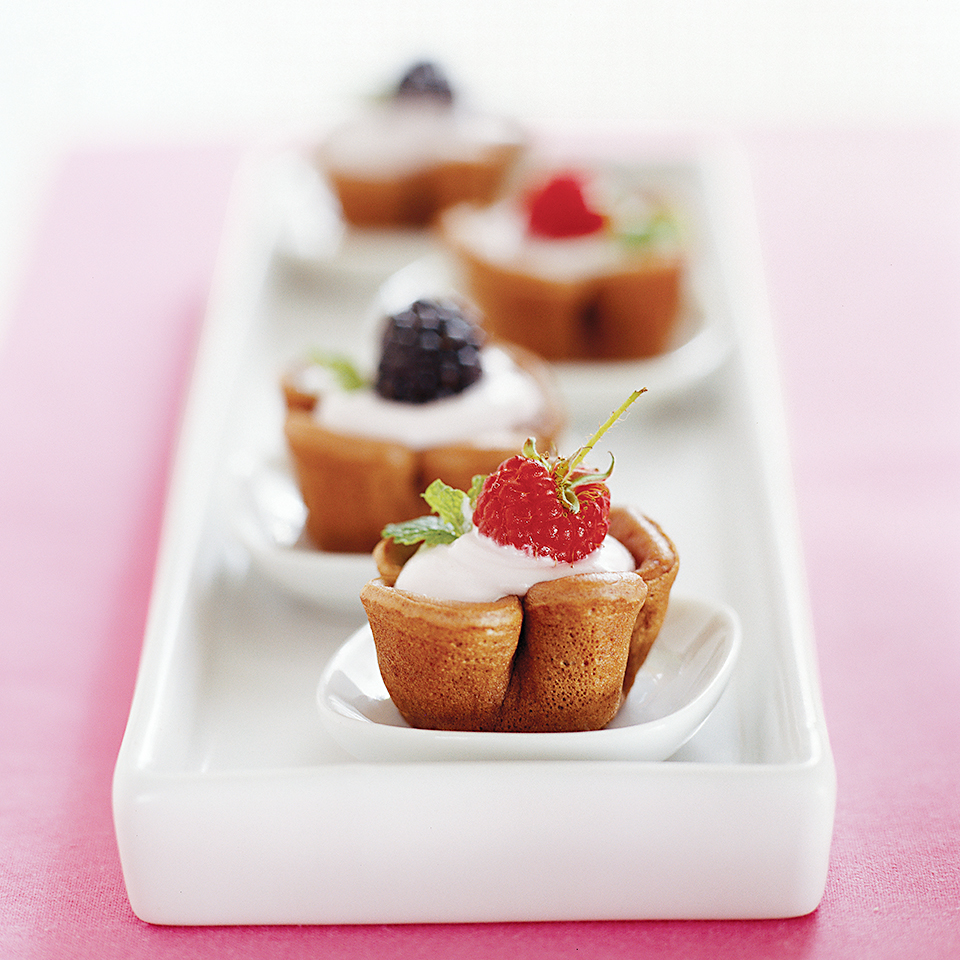 Berry-Filled Chocolate Crepe Cups