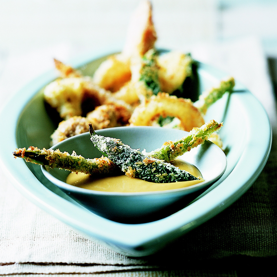 The wide variety of veggies in this tempura recipe provides vitamins, minerals, and health-promoting plant compounds. The mustard in the dipping sauce contains curcumin, a compound that makes mustard yellow and exhibits anticancer and anti-inflammatory properties.