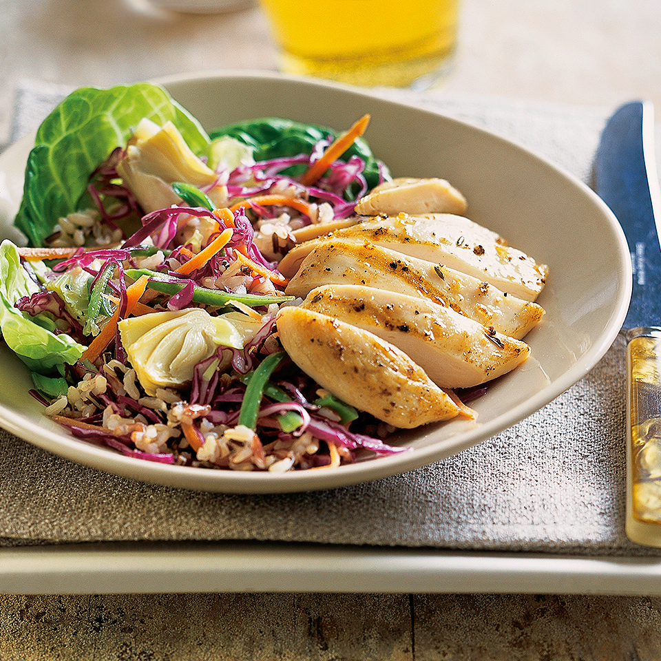 Artichoke hearts and shredded cabbage in this recipe make this whole grain chicken salad hearty enough for summer dinners. Source: Diabetic Living Magazine