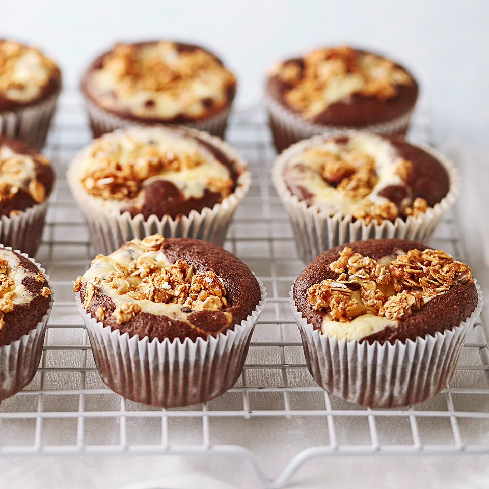 Not just for breakfast, granola adds a nice crunch to the top of these chocolate cupcakes.