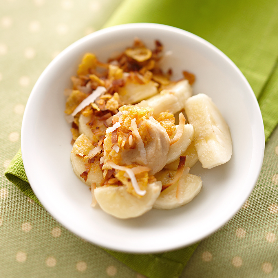 A creamy peanut butter-and-yogurt layer and crunchy cornflakes in this recipe turn plain bananas into an extraordinary treat. Source: Diabetic Living Magazine