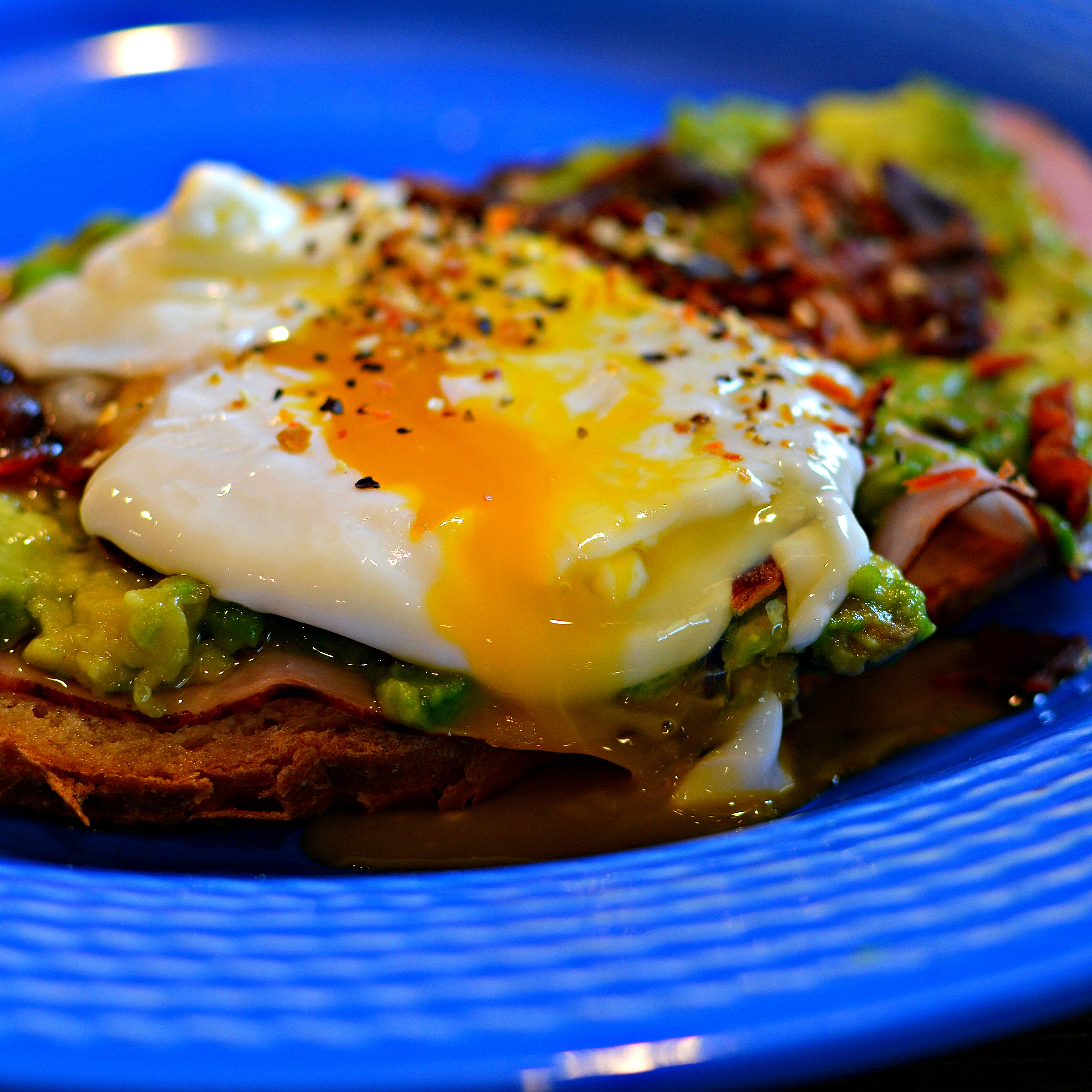 Avocado Toast with Crumbled Crispy Pancetta